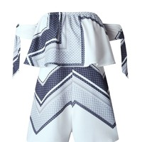 Casual Off Shoulder Flounce Printed Romper With Tie Sleeve