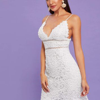 Guipure Lace Sheath Cami Dress
