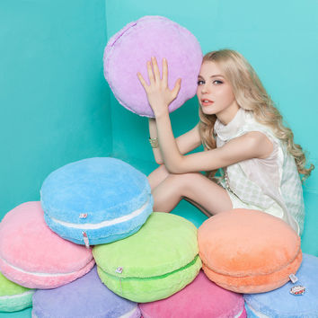 Pure Colorful Soft Round Cake Pillow Plush Doll Creative French Macaron