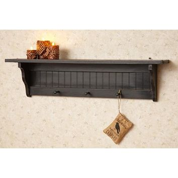 Primitive Country Black Wall Shelf with Three Peg Hooks