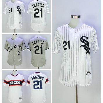 Flexbase Baseball 21 Todd Frazier Jersey Chicago White Sox 2016 MLB White Pinstripe Black Grey Pullover All Stitched Top Quality On Sale
