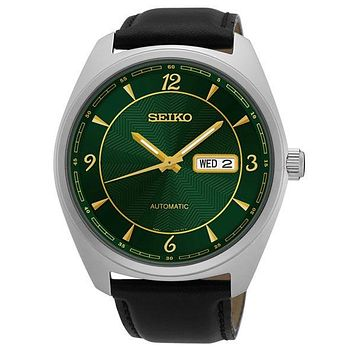 Seiko Mens Recraft Automatic Day/Date Watch - Green Dial - Two-Tone - Leather