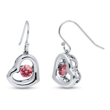 Platinum Plated Sterling Silver Open Heart Dancing Stone Fish Hook Dangle Earrings Made with Swarovski ZirconiaBe the first to write a reviewSKU# e1259-01
