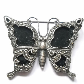 Antique Butterfly Brooch Whitby Jet and Marcasite Sterling Silver Large Insect Jewelry Victorian Edwardian Statement