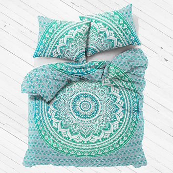 NEW Boho Green Ombre Tapestry Full Duvet Cover SET