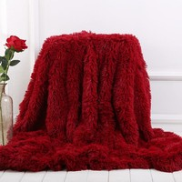 New Arrival Wine Red Bedding Sheet Bed Sofa Throw Blanket Long Shaggy Super Soft Warm Christmas Gift 130*160cm /160*200cm