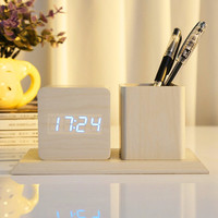2017 Creative LED Wood Pen Container Digital Clock Alarm Student Mute Mini Wooden Clock Sound Control Gift Wooden Alarm