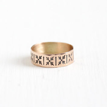 Antique 9K Rose Gold Victorian Ring - Size 4.5 Vintage Late 1800s Eternity Flower Leaf Fine Cigar Wedding Band Chased Engraved Jewelry