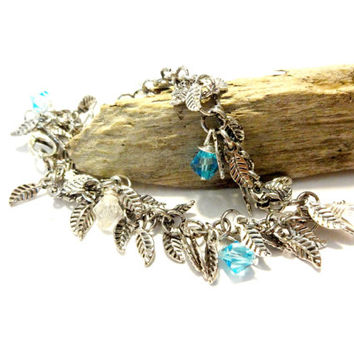 Sexy Silver Leaf Anklet Made With Swarovski Crystal Elements, Boho Anklet, Gypsy Jewelry, Bohemian Ankle Bracelet, Light Blue Crystal Anklet