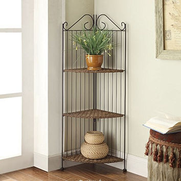 4D Concepts Farmington 3 Tier Folding Corner Maize Weave/ Black Iron Shelf