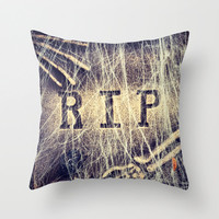 Rest in Peace pillow - Halloween Fall decor, spooky cushion, gravestone, goth, photo pillow cover, cushion cover, 16x16 18x18 or 20x20 RIP