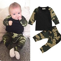 Cute Camouflage Newborn Baby Boys Outfit Set