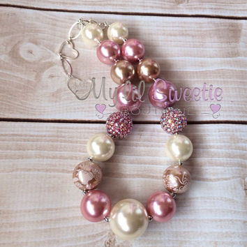 Stunning Original Ivory Rose champagne chunky necklace, chunky jewelry, children's necklace, bubblegum jewelry, bubblegum necklace