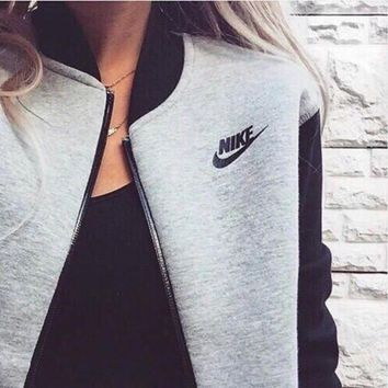 "Women ""NIKE""  Print Zipper Cardigan Jacket Coat"