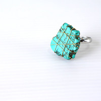 Wire Wrapped Turquoise Stone Ring, Green Raw Stone Adjustable Ring, December Birthstone
