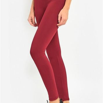 High Waist Fleece Leggings in Burgundy