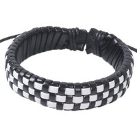 Handmade Leather Braided Bracelet in Black and White