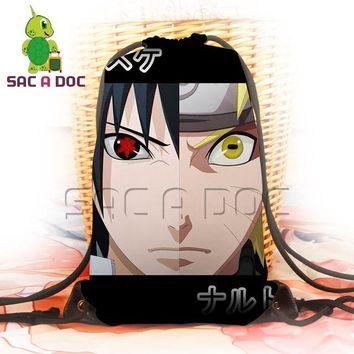 Anime Backpack School kawaii cute Naruto Travel Shoulder Bags Boys Girls Sasuke Sharingan Printing Drawstring Backpack School Bags Women Men Canvas Backpack AT_60_4