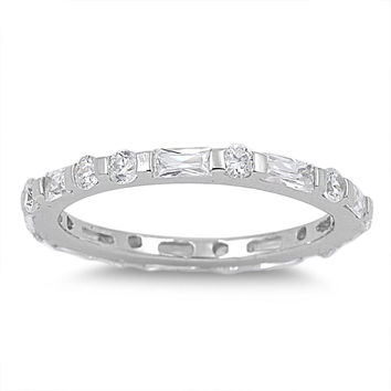 925 Sterling Silver CZ Alternate Round and Baguette Eternity Ring 2MM