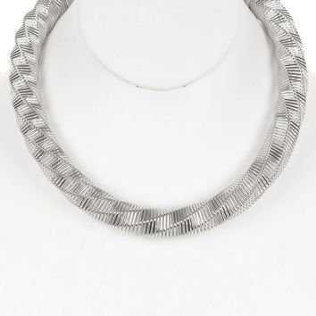 Sliver Twisted Coil Wire Spring Bib Necklace