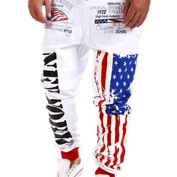 Beam Feet American Flag Print Lace-Up Sweatpants