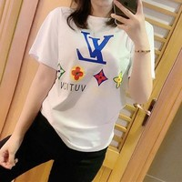 """Louis Vutitton"" Women Casual Personality Flower Chain Logo Print Short Sleeve T-shirt Top Tee"