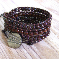 Women's Leather Wrap Bracelet Brown Leather Beaded Wrap Bracelet Leather Jewelry Boho Wrap Bracelet Wrap Bohemian Jewelry Earthy Bracelet