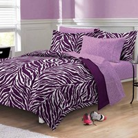 Clearance - My Room Purple Zebra Queen 7 Piece Bed In A Bag by My Room Bedding: The Home Decorating Company