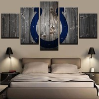 Indianapolis Colts Football Canvas Barnwood Style