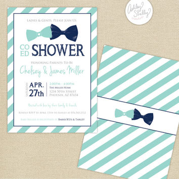 Co-Ed Baby Shower Bows and Bowties Stripes Invitation : Aqua/Navy Blue
