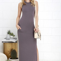 Shield and Sword Dusty Purple Sleeveless Maxi Dress