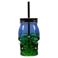 Blue & Green Skull Jar with Lid and Straw By Ashland®