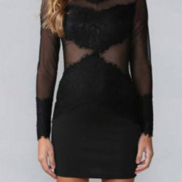 Black Sheer Mesh Panel Mini Dress
