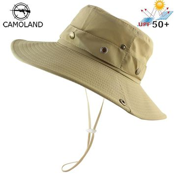UPF 50+ Bucket Hat Summer Men Women Outdoor Boonie Hats Sun UV Protection Wide Brim Military Army Fishing Hiking Tactical Cap