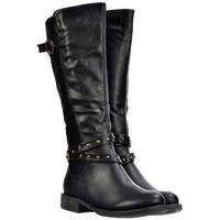 Onlineshoe Knee High Riding Boots - Buckles and Studs - Black  - Onlineshoe from Onlineshoe UK