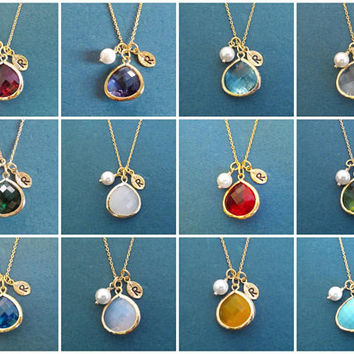 GOLD, Personalized, Birthstone color & Initial, Silver, Necklace, Birthday, Wedding, Best friends, Mom, Gift, Jewelry