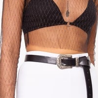 Morrgan Black Sheer Sparkle Mesh Crop Top