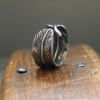 Raven Feather Bypass Ring cast in Solid White Bronze with by mrd74