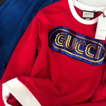 GUCCI Red Sweatshirt with Gucci Sequins