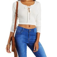 Lace-Up Ribbed Crop Top by Charlotte Russe