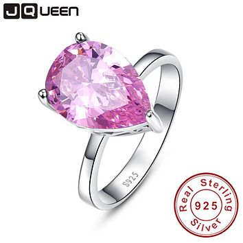 Fashionable Genuine Sterling Silver 925 Ring Mystic Pink Topaz 8.55carats cz Promise Wedding Rings for Womens