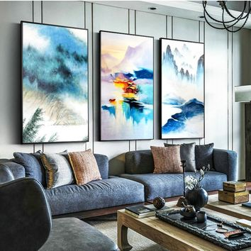 Nordic Style Canvas Painting Posters And Prints Modern Blue Landscape Home Decor Modern HD Wall Art Pictures For Living Room