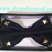 Studded Bowtie Black With Gold Studs by xxSweetStudxx on Etsy