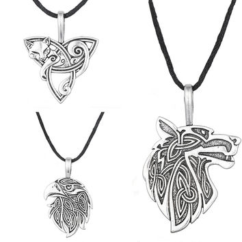 Odin Raven Norse Wolf Pendant Viking Jewelry Fox Triquetra Fenrir Animal Teen Wolf Necklace Men Female Supernatural Amulet Knot