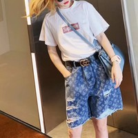 """LOUIS VUITTON""Fashion Casual Irregular Hole Worn Ripped Denim Shorts Hot Pants Middle Trousers Jeans"