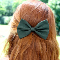 Forest Hair Bow - Forest Green Hair Bow with Clip