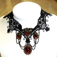 Buy Home Gothic Victorian Burlesque Lace Choker Ladies Necklace Bib Necklace