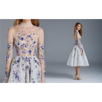 2017 Magical Floral Chic Prom Dress Long Sleeves Flower Embroidery Tea Length Formal Party Dress High Neck Short Cocktail Dress