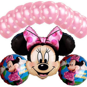 13 PCS/lot mickey minnie Mouse balloon for birthday party decoration ballons  helium globos baloes minnie balloons