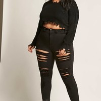 Plus Size Frayed Crop Sweater